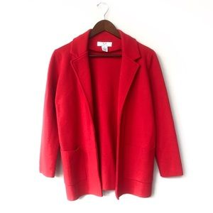 Magaschoni Sophie Red Open Sweater Blazer Pockets